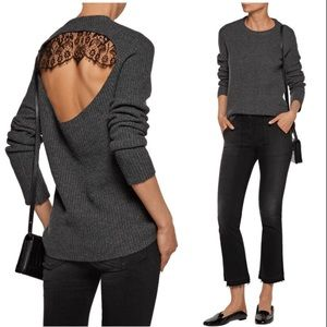 A.L.C Wool Cashmere Peter Lace Open Back Sweater
